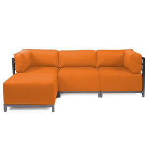 Axis Vivid Orange 4-Piece Sectional Sofa with Titanium Frame