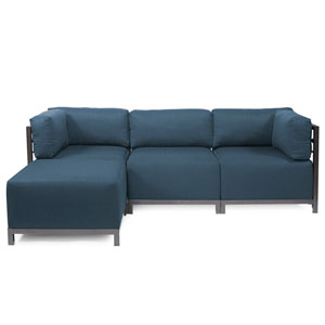 Axis Indigo Blue 4-Piece Sectional Sofa with Titanium Frame