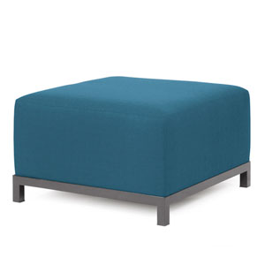 Axis Seascape Turquoise Ottoman with Titanium Frame