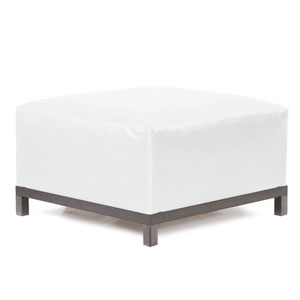 Axis Atlantis White Outdoor Ottoman with Titanium Frame