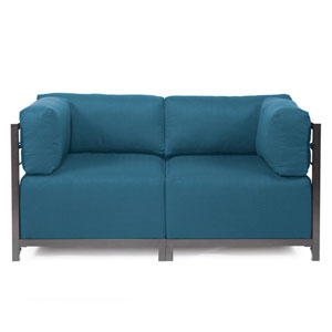 Axis 2-Piece Seascape Turquoise Sectional with Titanium Frame