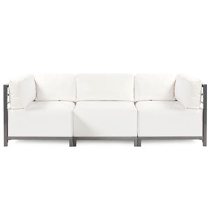 Axis Atlantis White Outdoor 3-Piece Sectional Sofa with Titanium Frame