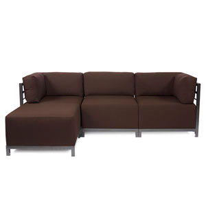 Axis 4-Piece Seascape Chocolate Sectional with Titanium Frame