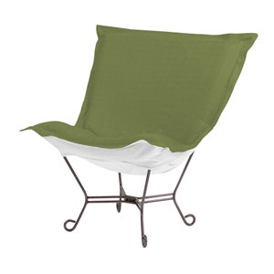 Scroll Puff Seascape Moss Chair with Titanium Frame