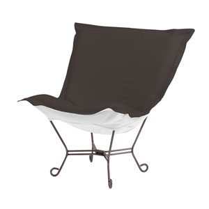 Scroll Puff Seascape Charcoal Chair with Titanium Frame