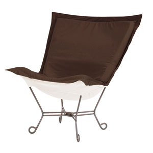 Scroll Puff Seascape Chocolate Chair with Titanium Frame