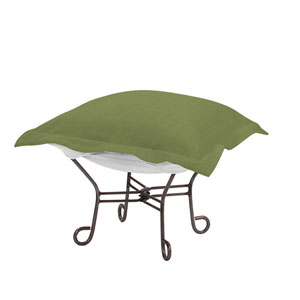 Scroll Puff Seascape Moss Ottoman with Titanium Frame