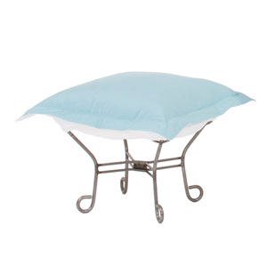 Scroll Puff Seascape Breeze Ottoman with Titanium Frame