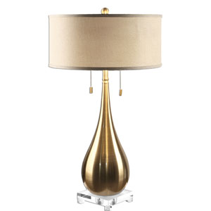 Lagrima Brushed Brass Two-Light Table Lamp