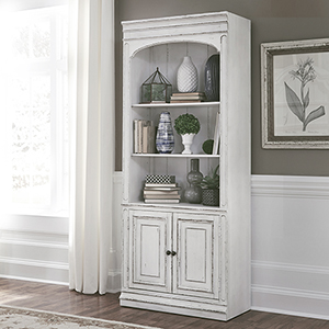 Magnolia Manor Antique White 78-Inch Bunching Bookcase