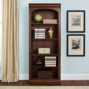 Brayton Manor Cognac 76-Inch Junior Executive Open Bookcase