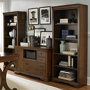 Brookview Rustic Cherry 72-Inch Open Bookcase