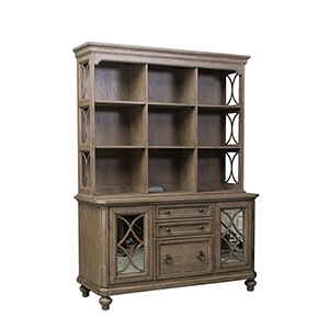 Simply Elegant Heathered Taupe 56-Inch Credenza Hutch