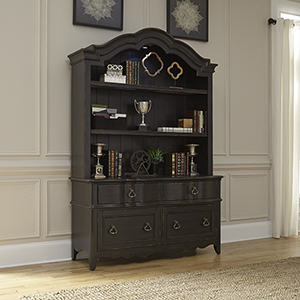Chesapeake Wire Brushed Antique Black 21-Inch Credenza and Hutch