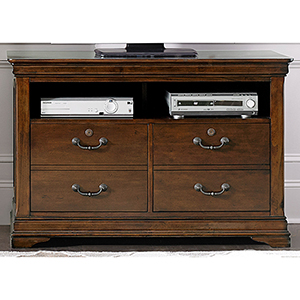 Chateau Valley Brown Cherry 46-Inch Media File Cabinet