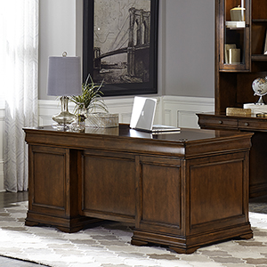 Chateau Valley Brown Cherry 64-Inch Junior Executive Desk