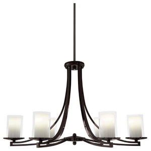 Essex Oil Rubbed Bronze 35.5-Inch Six-Light Chandelier with Opal Glass