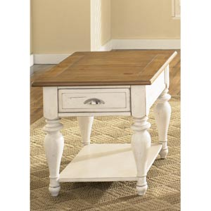 Ocean Isle Bisque with Natural Pine Rectangular End Table
