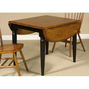 Creations II Black and Tobacco Drop Leaf Table