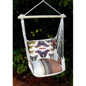 Cappuccino Stripe Swing Hammock with Butterflies Print Pillow