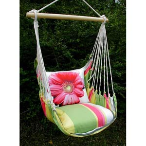 Fresh Lime Swing Hammock with Gerbera Print Pillow