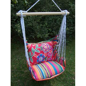 Le Jardin Stripe Swing Hammock with Le Jardin Flower Pillow