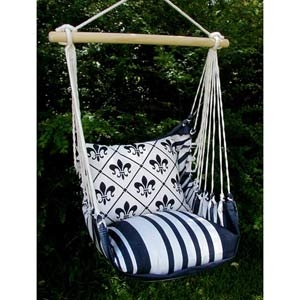 Metro Stripe Swing Hammock with Fleur De Lis Pillow