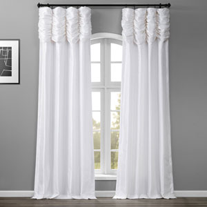 Ruched Eggshell 96 x 50-Inch Faux Silk Taffeta Curtain Single Panel