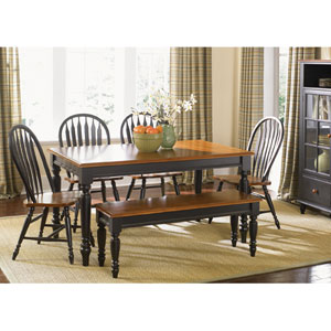 Low Country Anchor Black with Suntan Bronze Rectangular Leg Table