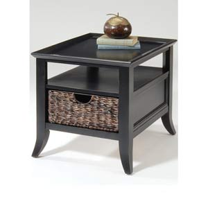 Rubbed Black End Table