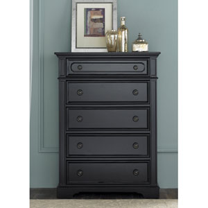 Carrington II Black Five Drawer Chest