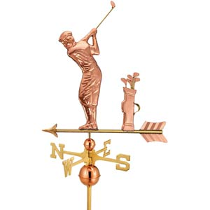 Polished Golfer Full Size Weathervane