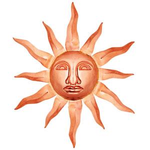 Polished Copper 36-Inch Sun Face Wall Decor
