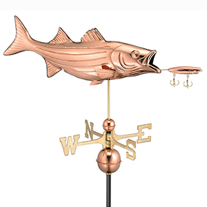 Lure Polished Copper Weathervane with Roof Mount