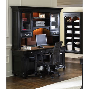 St. Ives Chocolate and Cherry Jr Executive Credenza with Hutch
