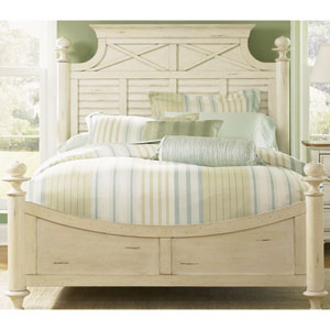 Ocean Isle Bisque with Natural Pine King Poster Bed