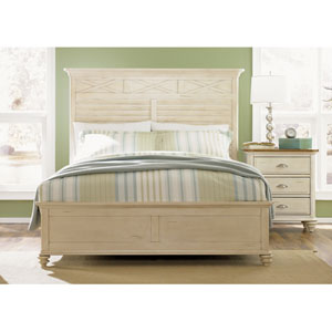 Ocean Isle Bisque with Natural Pine Queen Panel Bed