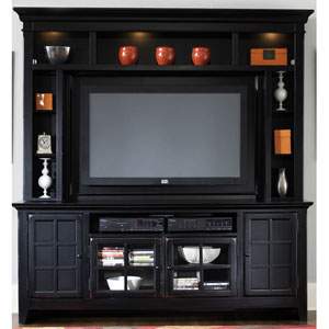 New Generation Rubbed Black Entertainment TV Stand and Hutch