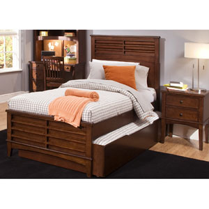Chelsea Square Burnished Tobacco Twin Panel Bed with Trundle Unit