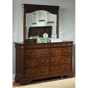 Alexandria Autumn Brown Eight Drawer Dresser and Mirror