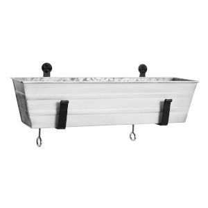 Cape Cod White 22-Inch Flower Box with Clamp-On Bracket