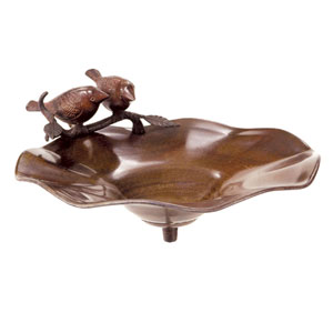 Antiqued Birdbath w/ Birds