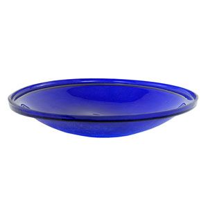 14 Inch Cobalt Blue Crackle Glass Bowl Only