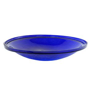 14 Inch Cobalt Blue Crackle Glass Bowl Only