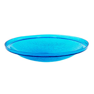 14 Inch Teal Crackle Glass Bowl Only