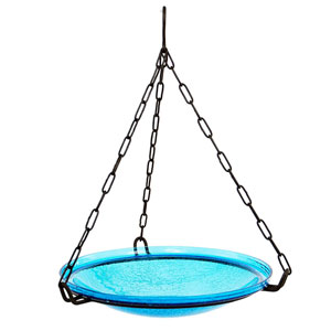 Hanging Teal Crackle Bowl Only