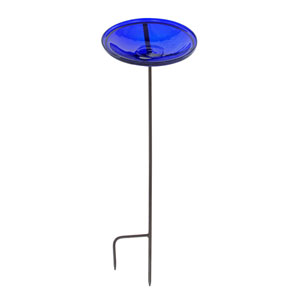 Cobalt Blue Crackle Bowl w/ Stand