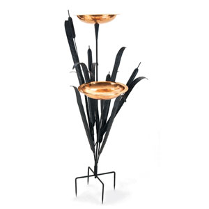 Wrought Iron Cattail Double Birdbath