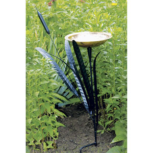 Wrought Iron Cattail Single Birdbath