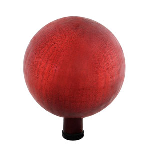 Gazing Ball 10 Inch Red Crackle
